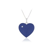 <strong>Élan Jewelry</strong> Sterling Silver Heart Blue Enamel Pendant Necklace