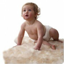Sheepskin Unshorn Lambskin Cream Solid Area Rug