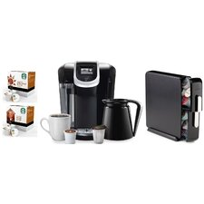 2.0 K350 Brewing System with Countertop Storage Drawer, Starbucks Breakfast Blend K-Cups and Starbucks House Blend K-Cups