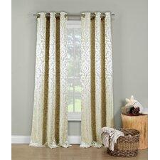 Allia Metallic Jacquard Grommet Curtain Panels (Set of 2)