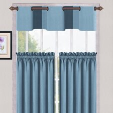 "Cambridge Synthetic Metal Grommet Kitchen 56"" Valance and Tier Set"