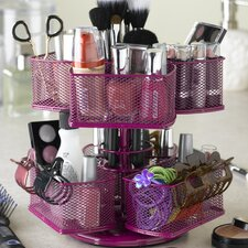 Cosmetic Organizing Carousel in Powder Coated Rose