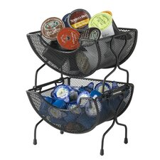 Mesh 2 Piece Stacking Basket Set in Black