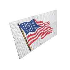 <strong>Alligator Board</strong> Powder Coated Metal Pegboard Panels/ Flange and USA Flag in White