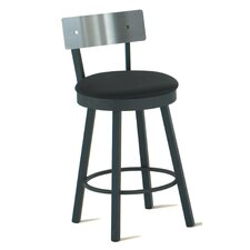 "Lauren 34"" Swivel Tall Barstool with Stainless Steel Backrest"