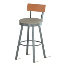 "Lauren 30"" Swivel Barstool with Wood Backrest"