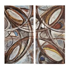 Mixed Media 2 Piece Back Painted Plexi Wall Art Set