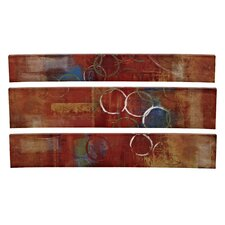 Mixed Media 3 Piece Curved Wall Art Set