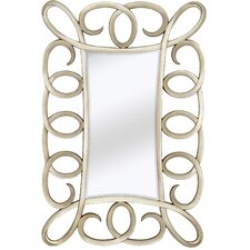 Contemporary Beveled Mirror in Antique Silver