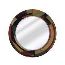<strong>Majestic Mirror</strong> Mixed Media Round Bevel Wall Mirror