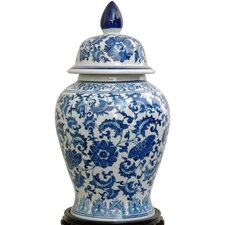 Temple Jar with Blue Floral Design in White