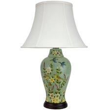 "Birds and Flowers 24.5"" H Porcelain Jar Table Lamp"
