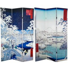 "71"" x 47.25"" Double Sided Hiroshige 3 Panel Room Divider"