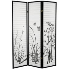 "70.25"" x 52.5"" Bamboo and Blossoms 3 Panel Room Divider"