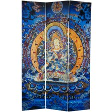 "<strong>Oriental Furniture</strong> 71"" x 47.25"" Radiant Tara Tibetan Double Sided 3 Panel Room Divider"
