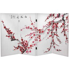 "36"" x 50.4"" Double Sided Plum Blossom 4 Panel Room Divider"