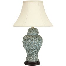 """Classic Temple Jar 23.5"""" H Table Lamp with Bell Shade"""