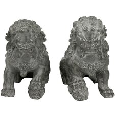 2 Piece Sitting Foo Dog Figurine Set