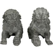 2 Piece Sitting Foo Dog Statue Set
