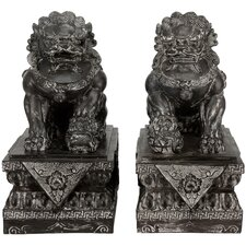 2 Piece Foo Dog Rust Patina Statue Set