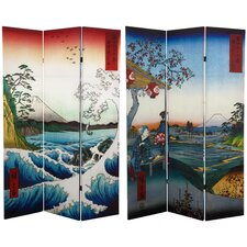 "<strong>Oriental Furniture</strong> 71"" x 47.25"" Double Sided Hiroshige 3 Panel Room Divider"