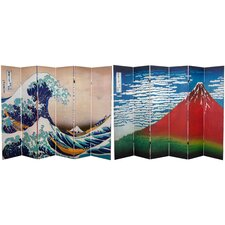 "71"" x 94.5"" Double Sided Hokusai 6 Panel Room Divider"