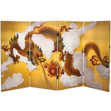 "<strong>Oriental Furniture</strong> 36"" x 63"" Double Sided Dragon in the Sky 4 Panel Room Divider"