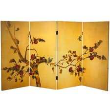"36"" x 50.4"" Birds and Flowers on Plum Tree Double Sided 4 PanelRoom Divider"
