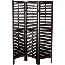 "<strong>Oriental Furniture</strong> 70.25"" x 52.5"" Double Shutter 3 Panel Room Divider"