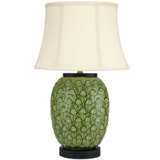 """Feather Design Porcelain Jar 25.5"""" H Table Lamp with Bell Shade"""