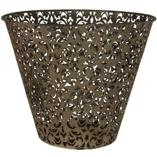 <strong>Oriental Furniture</strong> Filigree Wrought Iron Waste Basket