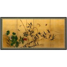 <strong>Oriental Furniture</strong> Butterflies and Bamboo on Gold Leaf Wall Art