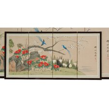 "18"" x 36"" Birds and Flowers 4 Panel Room Divider"