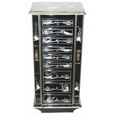 Chinese Birds and Flowers Jewelry Armoire with Mirror