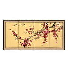 "24"" Plum Blossom 4 Panel Room Divider"