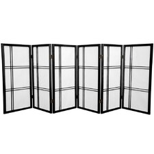 "35.75"" Double Cross Shoji Screen 6 Panel Room Divider"