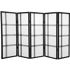 "<strong>Oriental Furniture</strong> 48"" Double Cross Shoji Screen 5 Panel Room Divider"