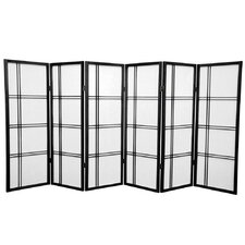 "48"" Double Cross Shoji Screen 6 Panel Room Divider"