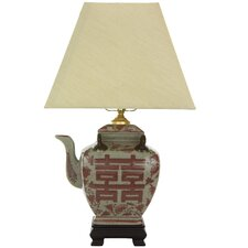 """Chinese Teapot 17"""" H Table Lamp with Rectangle Shade"""