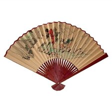 <strong>Oriental Furniture</strong> Mountiain Scene Oriental Fan Wall Décor