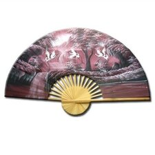 <strong>Oriental Furniture</strong> Cranes over Waterfall Oriental Fan Wall Décor