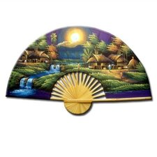 <strong>Oriental Furniture</strong> Asian Village Sunset Oriental Fan Wall Décor
