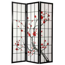"72"" Cherry Blossom Decorative 3 Panel Room Divider"