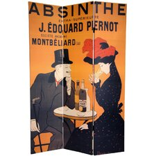 "72"" x 55"" Double Sided Absinthe 3 Panel Room Divider"
