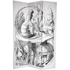 "<strong>Oriental Furniture</strong> 72"" x 48"" Double Sided Alice in Wonderland 3 Panel Room Divider"