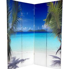 "<strong>Oriental Furniture</strong> 72"" x 63"" Double Sided Ocean 4 Panel Room Divider"
