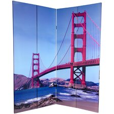 "72"" x 48"" Double Sided Bridges 4 Panel Room Divider"