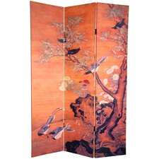 "72""  Double Sided Chinese Landscapes Canvas 3 Panel Room Divider"