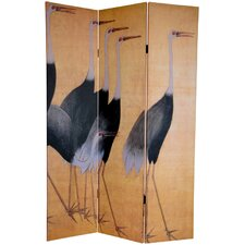 "<strong>Oriental Furniture</strong> 72"" x 48"" Double Sided Cranes 3 Panel Room Divider"