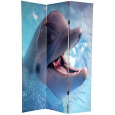 "72"" x 64"" Double Sided Dolphin and Clownfish 3 Panel Room Divider"